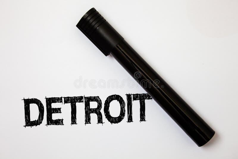 Word het schrijven tekst Detroit Bedrijfsconcept voor Stad in het Kapitaal van de Verenigde Staten van Amerika van whi van de Ide royalty-vrije stock foto's