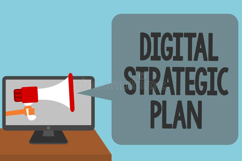 Word het schrijven tekst Digitaal Strategisch Plan Het bedrijfsconcept voor leidt tot programma voor de marketing van product of  royalty-vrije illustratie