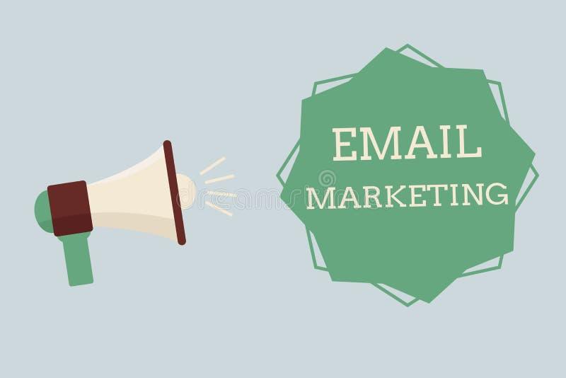 Word het schrijven tekst E-mail Marketing Bedrijfsconcept voor het Verzenden van een commercieel bericht naar een groep die mense vector illustratie