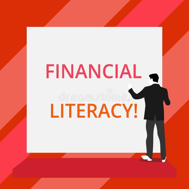 Word het schrijven tekst Financi?le Geletterdheid Bedrijfsconcept voor Understand en goed geïnformeerd op hoe de geldwerken menin vector illustratie