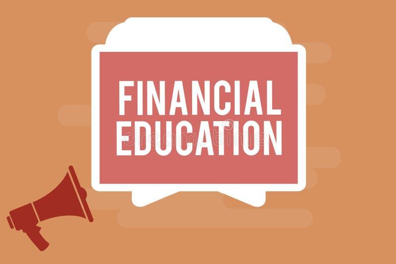 Word het schrijven tekst Financieel Onderwijs Bedrijfsconcept voor het Begrip van Monetaire gebieden zoals Financiën en het Inves vector illustratie