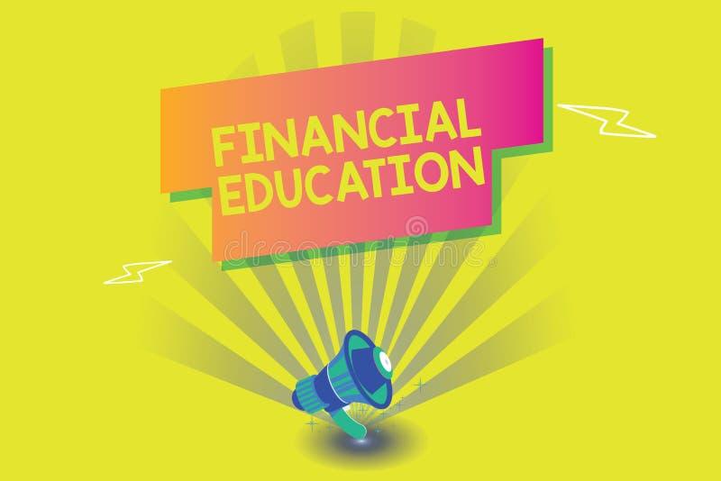 Word het schrijven tekst Financieel Onderwijs Bedrijfsconcept voor het Begrip van Monetaire gebieden zoals Financiën en het Inves royalty-vrije illustratie