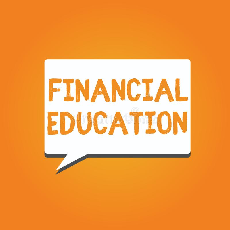 Word het schrijven tekst Financieel Onderwijs Bedrijfsconcept voor het Begrip van Monetaire gebieden zoals Financiën en het Inves stock illustratie