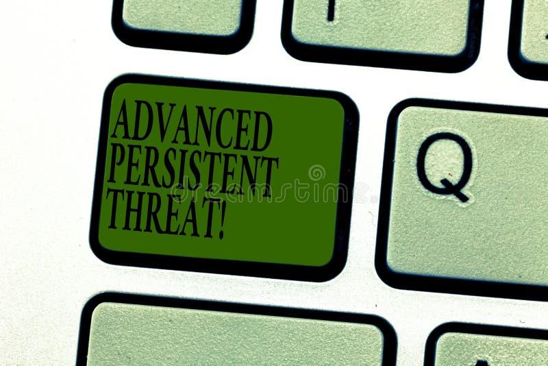 Word het schrijven tekst Geavanceerde Blijvende Bedreiging Het bedrijfsconcept voor onbevoegde gebruiker krijgt tot een systeemto stock afbeelding
