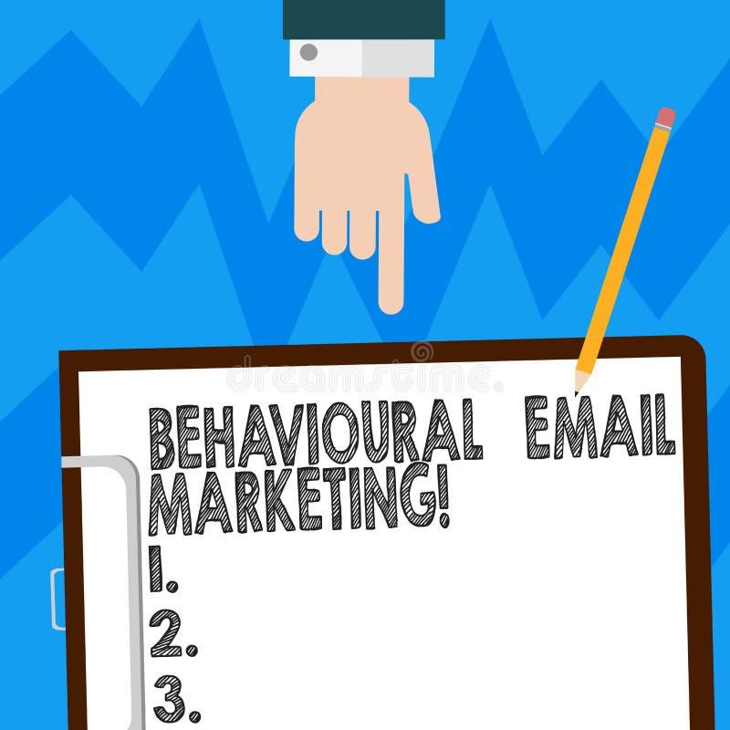 Word het schrijven tekst Gedrags E-mail Marketing Bedrijfsconcept voor de customercentric van de het overseinenstrategie van de t stock afbeeldingen