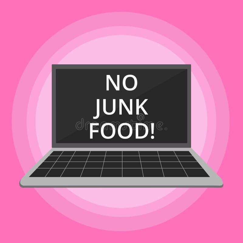 Word het schrijven tekst Geen Ongezonde kost Het bedrijfsconcept voor Einde die ongezonde dingen eten gaat op een dieet opgeeft b royalty-vrije illustratie