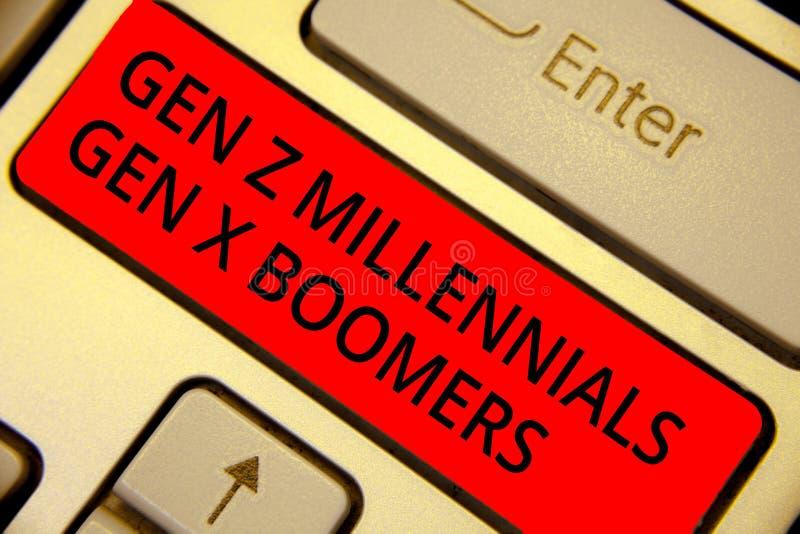 Word het schrijven tekst Gen Z Millennials Gen X Boomers Bedrijfsconcept voor Generational-het Toetsenbord rode sleutel van versc stock foto