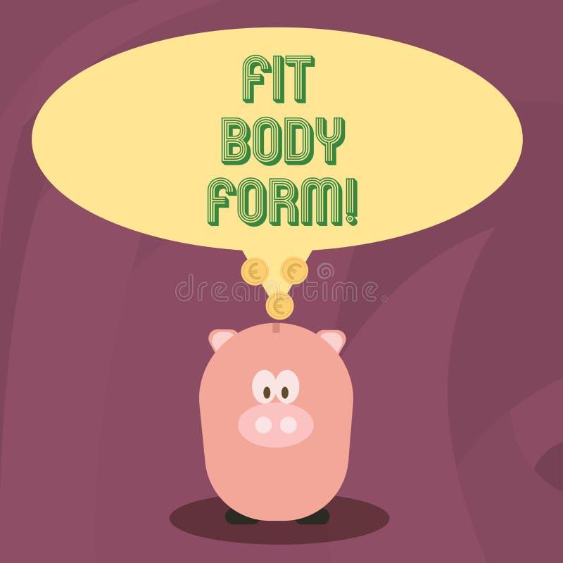 Word het schrijven tekst Geschikte Lichaamsvorm Bedrijfsconcept voor Perfect silhouet dat door oefening te doen en op dieet te zi vector illustratie