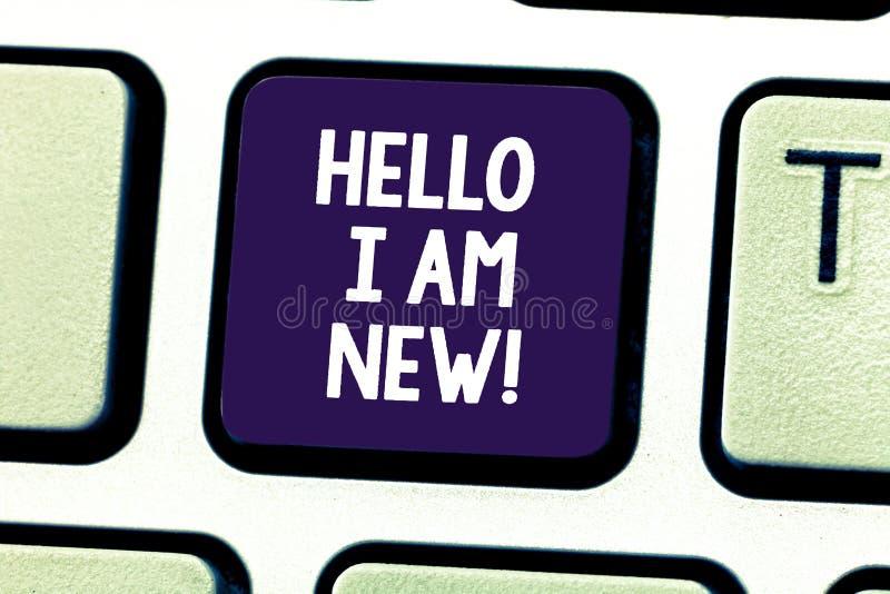 Word het schrijven tekst Hello ben ik Nieuw Bedrijfsconcept voor het Introduceren van aan het onbekende tonen newbie in het team royalty-vrije stock fotografie