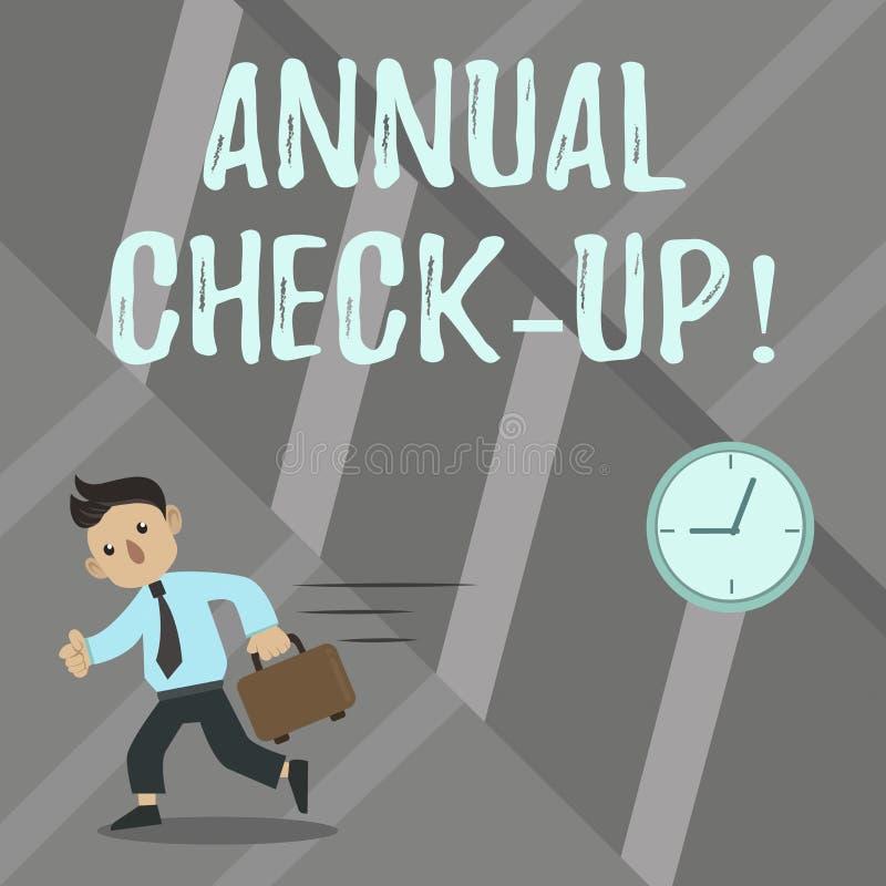 Word het schrijven tekst Jaarlijkse Controle omhoog Bedrijfsconcept voor Jaarlijkse evaluatie en het aantonen van de gezondheidss stock illustratie