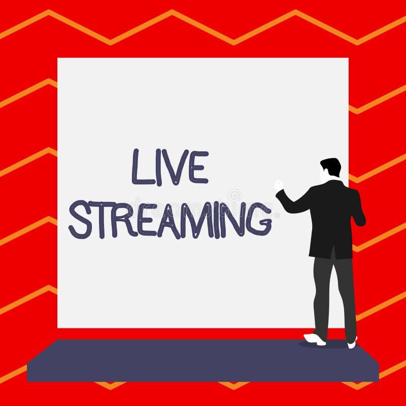 Word het schrijven tekst Live Streaming Bedrijfsconcept voor Transmit levende videodekking van een gebeurtenis over Internet plot royalty-vrije illustratie