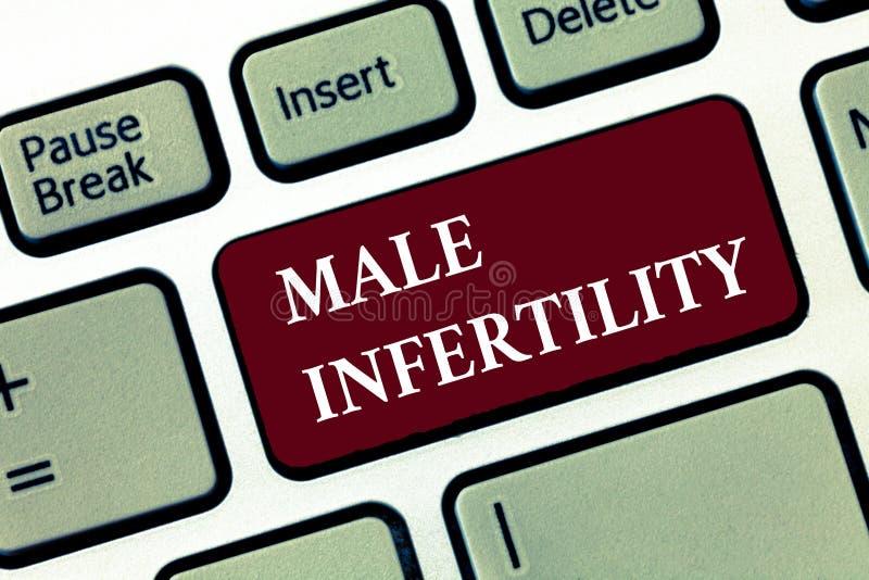 Word het schrijven tekst Mannelijke Onvruchtbaarheid Bedrijfsconcept voor Onvermogen van een mannetje om zwangerschap in vruchtba royalty-vrije stock afbeeldingen