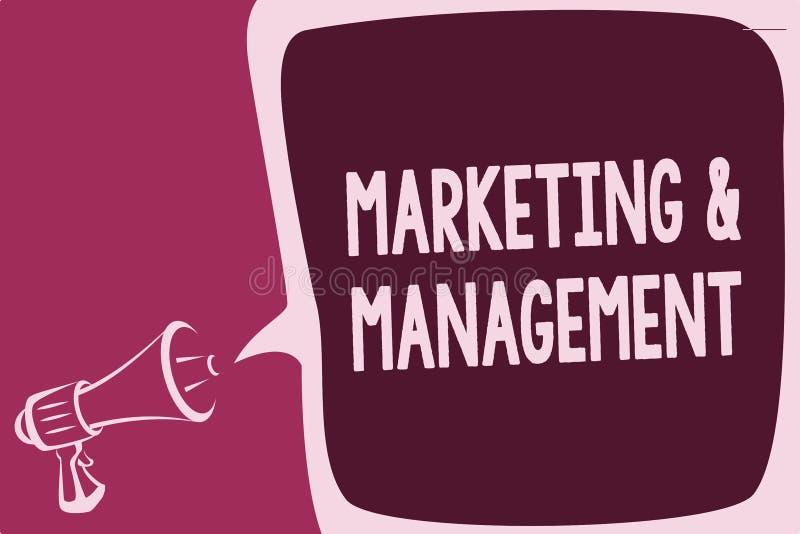 Word het schrijven tekst Marketing en Beheer Bedrijfsconcept voor proces om strategieën voor product te ontwikkelen die het denke royalty-vrije illustratie