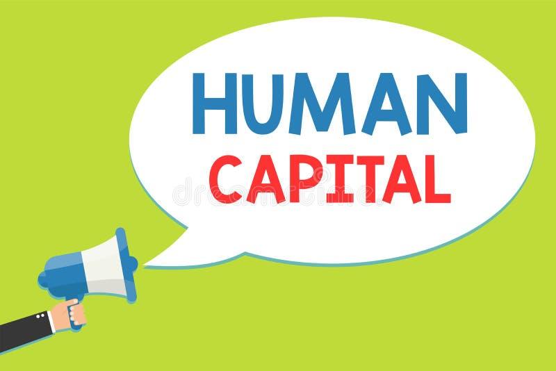 Word het schrijven tekst Menselijk Kapitaal Het bedrijfsconcept voor Ongrijpbare Collective van middelen voorziet Mens van het Be royalty-vrije illustratie