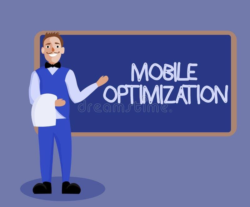 Word het schrijven tekst Mobiele Optimalisering Bedrijfsdieconcept voor Plaatsinhoud voor Handbediende of Tabletapparaten opnieuw stock illustratie