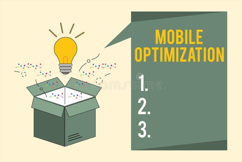 Word het schrijven tekst Mobiele Optimalisering Bedrijfsdieconcept voor Plaatsinhoud voor Handbediende of Tabletapparaten opnieuw royalty-vrije illustratie