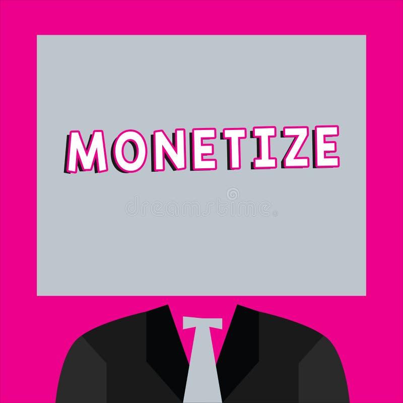 Word het schrijven tekst Monetize Het bedrijfsconcept voor bekeerling in of uitdrukkelijk in vorm van munt verdient opbrengst van royalty-vrije illustratie
