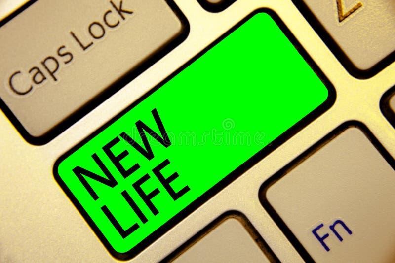 Word het schrijven tekst het Nieuwe Leven Bedrijfsconcept voor begin van verandering het bestaand van een individueel of dierlijk royalty-vrije stock afbeelding