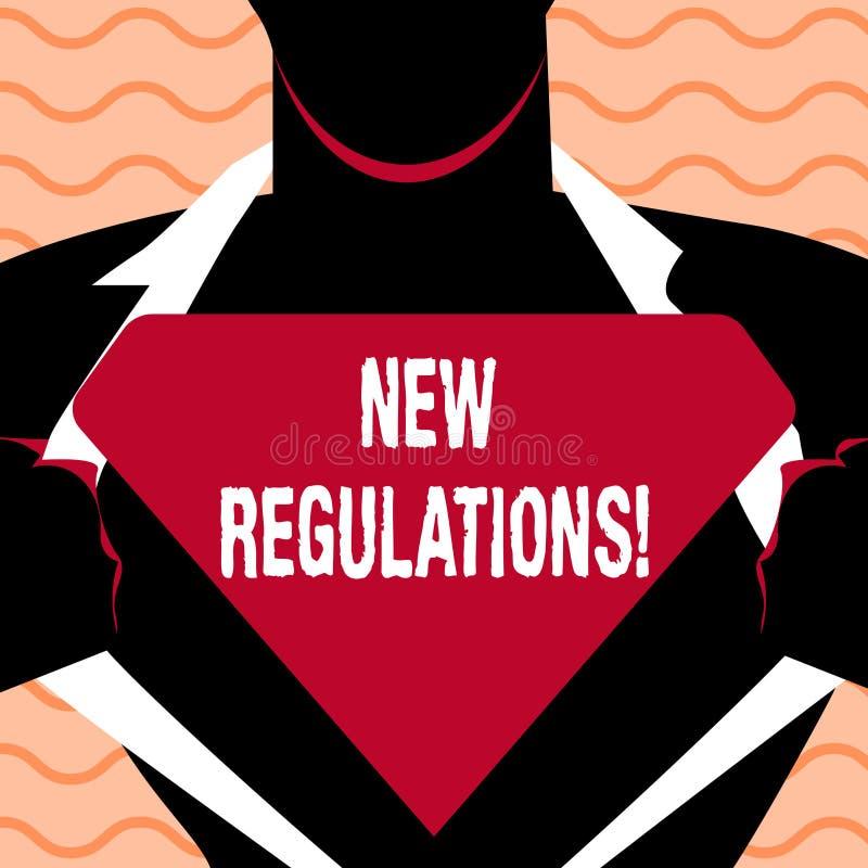 Word het schrijven tekst Nieuwe Verordeningen Het bedrijfsconcept voor Verandering van Wetten beslist Collectieve Normenspecifica vector illustratie