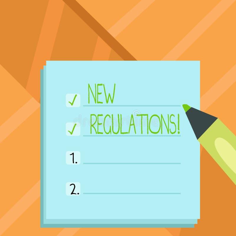 Word het schrijven tekst Nieuwe Verordeningen Het bedrijfsconcept voor Verandering van Wetten beslist Collectieve Normenspecifica royalty-vrije illustratie