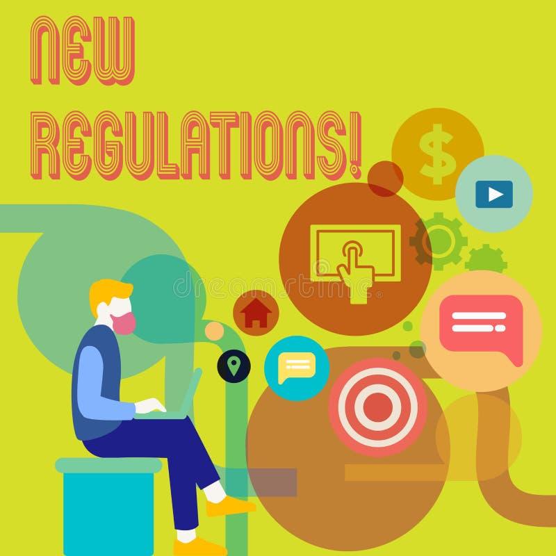 Word het schrijven tekst Nieuwe Verordeningen Het bedrijfsconcept voor Verandering van Wetten beslist Collectieve Normenspecifica stock illustratie