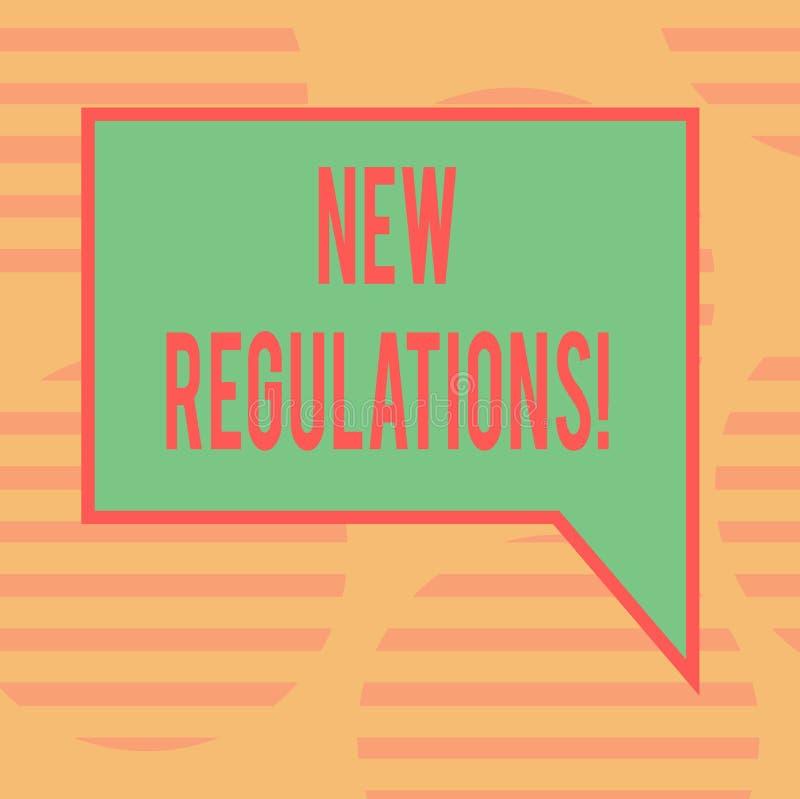 Word het schrijven tekst Nieuwe Verordeningen Het bedrijfsconcept voor Verandering van Wetten beslist de Collectieve Rechthoekige vector illustratie
