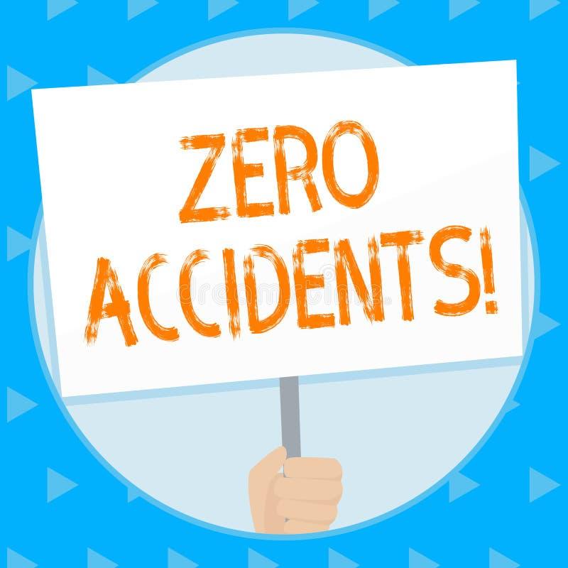 Word het schrijven tekst Nul Ongevallen Bedrijfsconcept voor belangrijke strategie om de Hand van werkplaatsongevallen te verhind stock illustratie