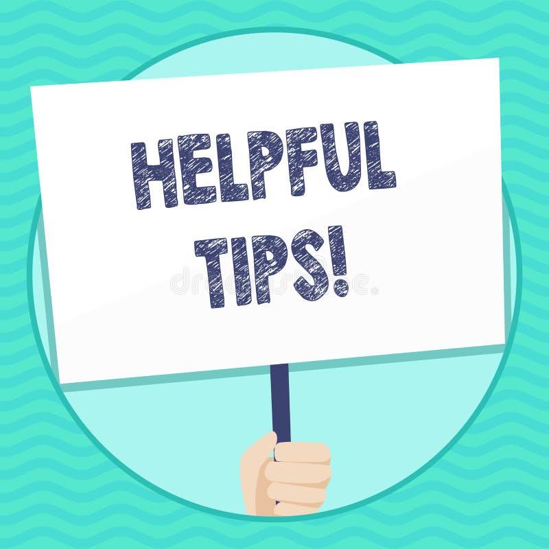 Word het schrijven tekst Nuttige Uiteinden Bedrijfsconcept voor adviezen die worden gegeven om nuttige kennis in de Holdingsspati stock illustratie