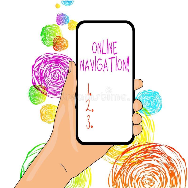Word het schrijven tekst Online Navigatie Bedrijfsconcept voor het navigeren van een netwerk van informatiemiddelen in het Web royalty-vrije illustratie