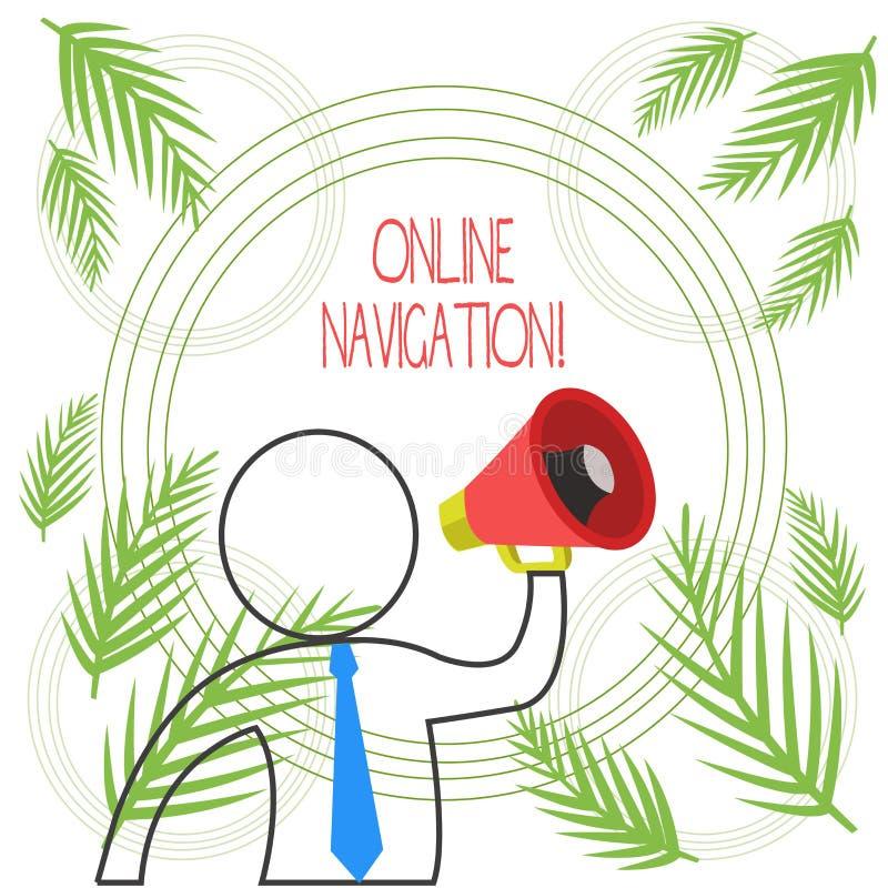Word het schrijven tekst Online Navigatie Bedrijfsconcept voor het navigeren van een netwerk van informatiemiddelen in het Web vector illustratie