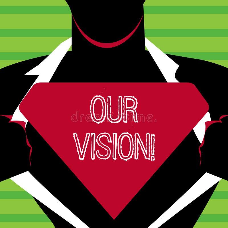 Word het schrijven tekst Onze Visie Het bedrijfsconcept voor dient als duidelijke gids voor binnen het kiezen van de huidige en t vector illustratie