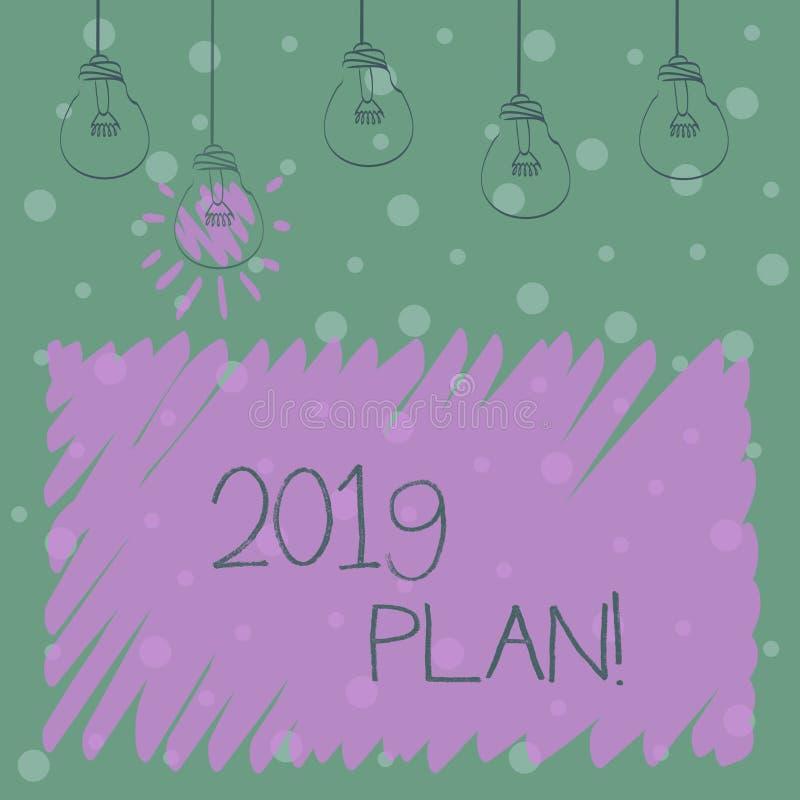 Word het schrijven tekst 2019 Plan Bedrijfsconcept voor de Uitdaging van Ideeëndoelstellingen voor Nieuwjaarmotivatie om te begin vector illustratie