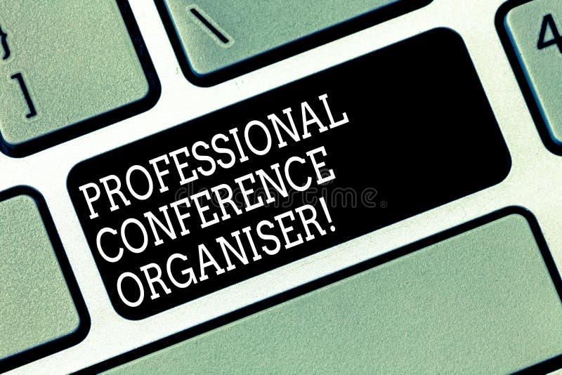 Word het schrijven tekst Professionele Conferentieorganisator Het bedrijfsconcept voor specialiseert zich in de het organiseren z stock afbeelding