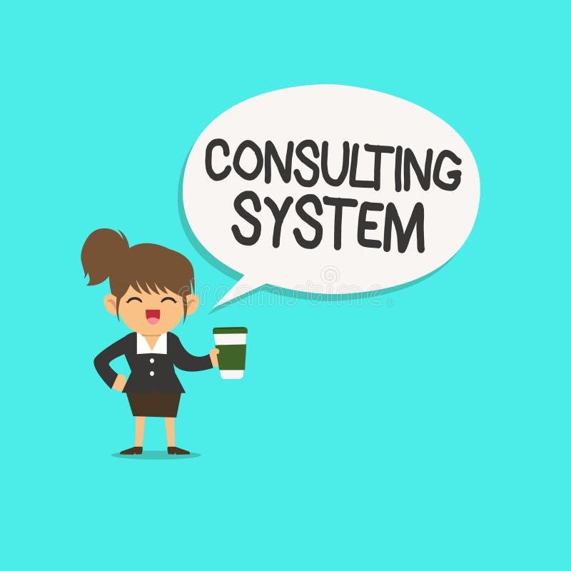 Word het schrijven tekst het Raadplegen Systeem Bedrijfsconcept voor het Helpen van firma's procesgeschiktheid en functionaliteit stock illustratie