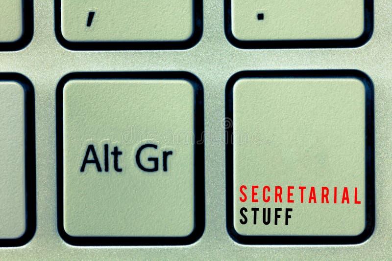 Word het schrijven tekst Secretariaatsmateriaal Bedrijfsdieconcept voor de Dingen van Secretaressebezittingen door persoonlijke m royalty-vrije stock fotografie