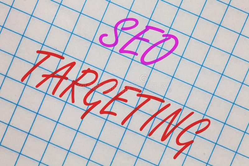 Word het schrijven tekst Seo Targeting Het bedrijfsconcept voor Specifieke Sleutelwoorden voor Hoogste het Domeinnotitieboekje va stock foto's