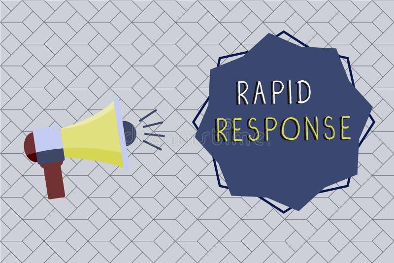 Word het schrijven tekst Snelle Reactie Bedrijfsconcept voor de Medische Snelle hulp van het noodsituatieteam tijdens ramp stock illustratie