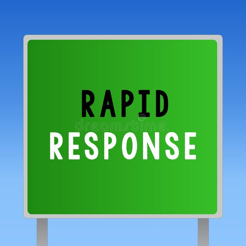Word het schrijven tekst Snelle Reactie Bedrijfsconcept voor de Medische Snelle hulp van het noodsituatieteam tijdens ramp royalty-vrije illustratie