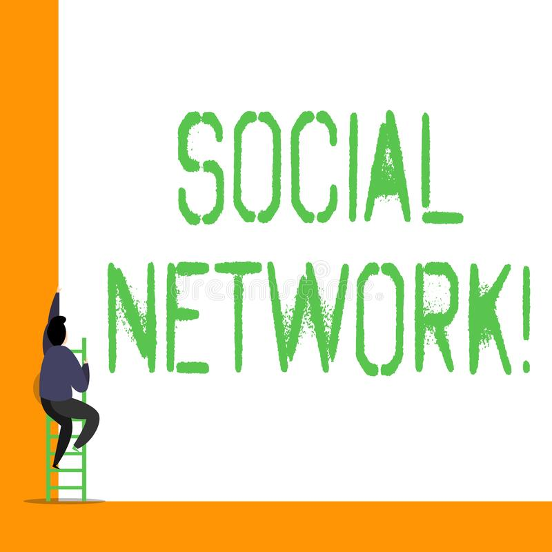 Word het schrijven tekst Sociaal Netwerk Bedrijfsconcept voor een netwerk van sociale interactie en demonstratingal stock illustratie