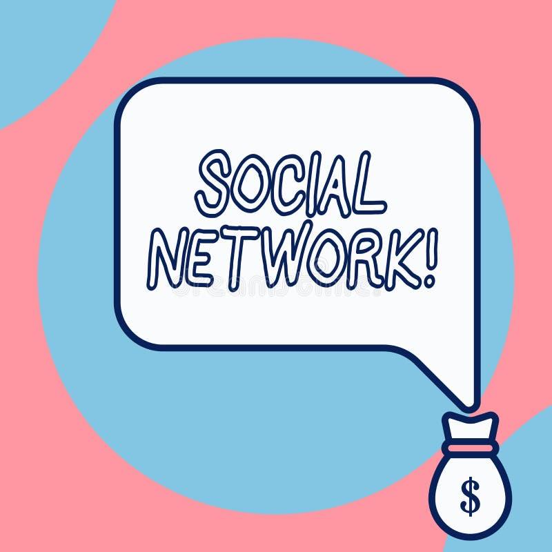 Word het schrijven tekst Sociaal Netwerk Bedrijfsconcept voor een netwerk van sociale interactie en demonstratingal vector illustratie