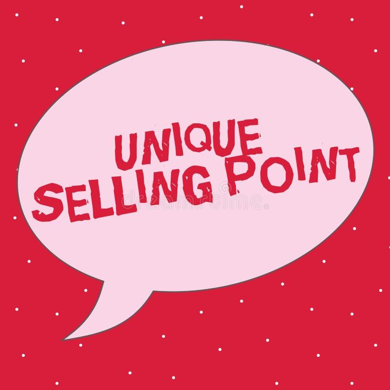 Word het schrijven tekst Uniek Verkopend Punt Het bedrijfsconcept voor Differentiate een Specifiek Product komt en Voordelen voor vector illustratie