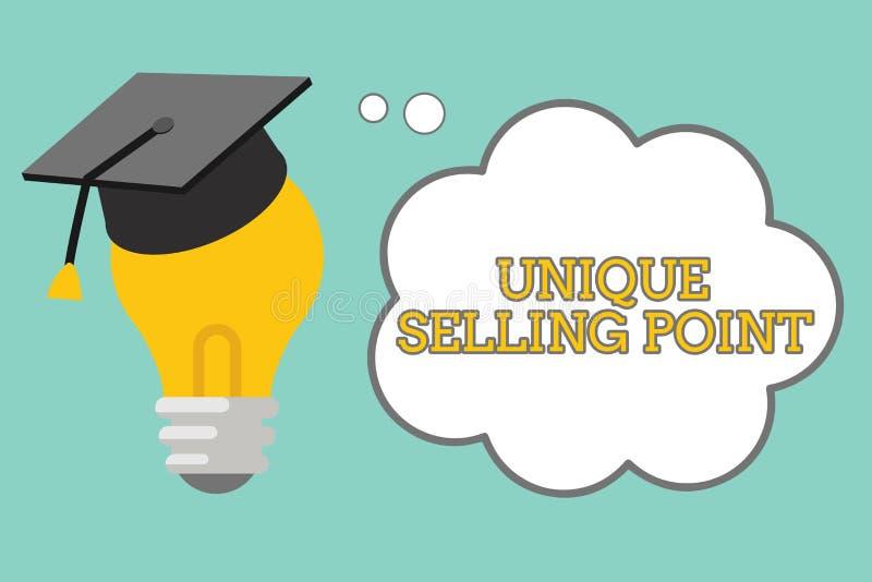 Word het schrijven tekst Uniek Verkopend Punt Het bedrijfsconcept voor Differentiate een Specifiek Product komt en Voordelen voor stock illustratie