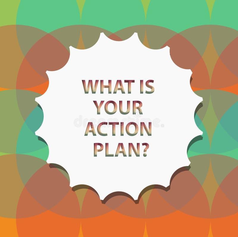Word het schrijven tekst wat Uw Actie Planquestion is Bedrijfsconcept voor Explain uw stappen voor bereik uw doel Lege Verbinding royalty-vrije illustratie