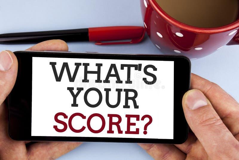 Word het schrijven tekst wat Uw Scorevraag is Bedrijfsconcept voor Tell Persoonlijke Individuele Classificatie Gemiddelde die Res royalty-vrije stock foto