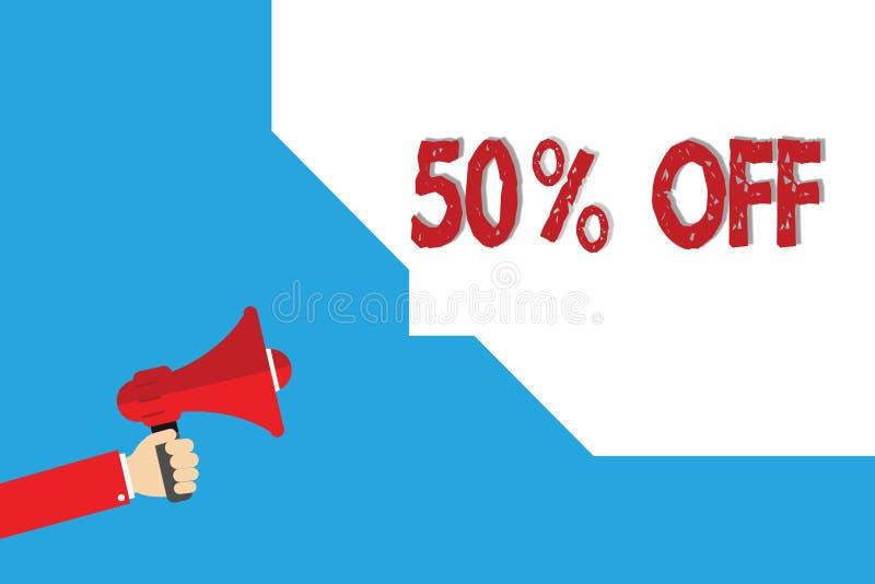 Word het schrijven tekst 50 weg Bedrijfsconcept voor Korting van vijftig percenten over regelmatige de Verkoopontruiming van de p stock afbeelding