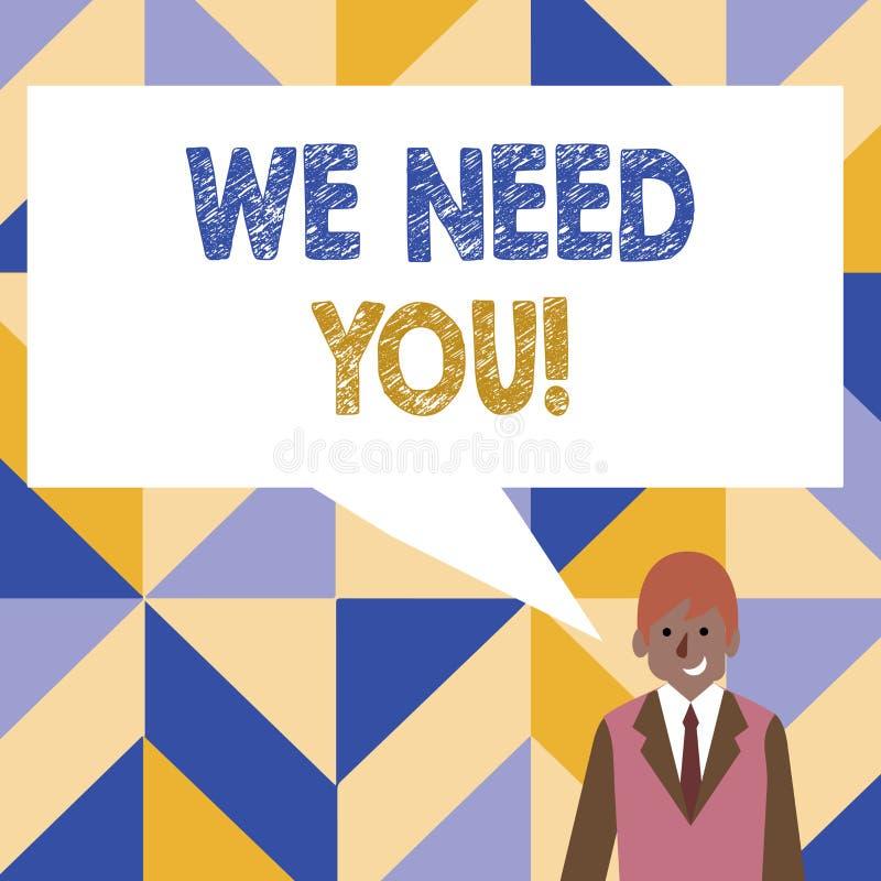 Word het schrijven tekst wensen wij u Bedrijfsconcept voor het vragen van iemand om voor bepaald baan of doel samen te werken vector illustratie