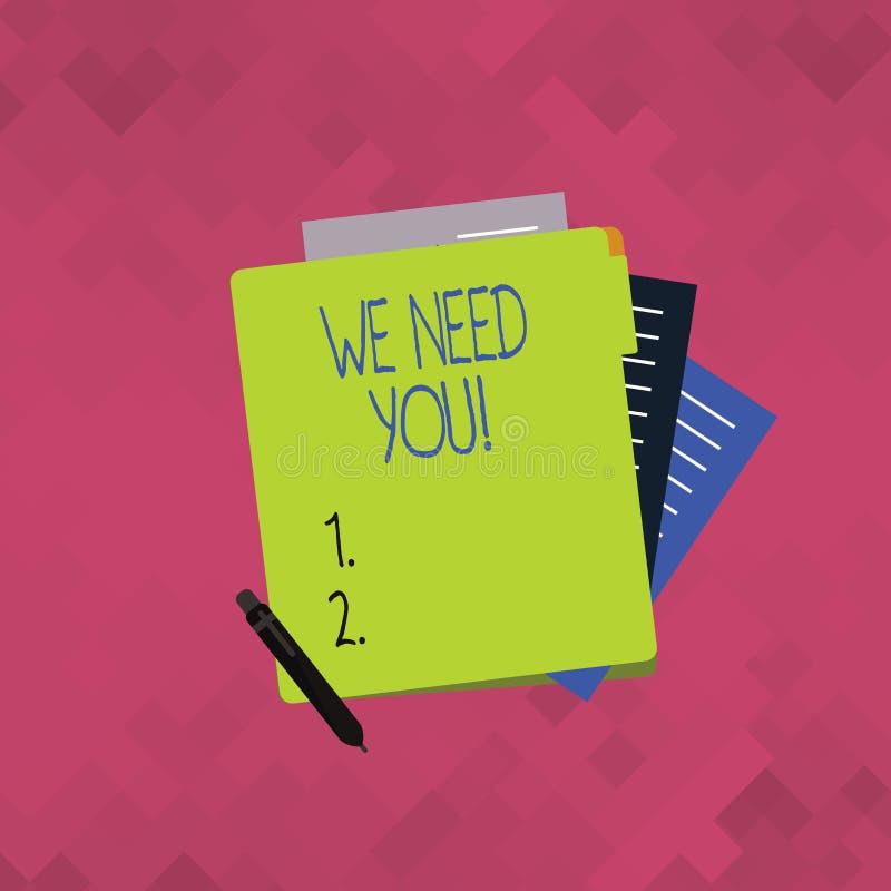 Word het schrijven tekst wensen wij u Bedrijfsconcept voor het vragen van iemand om voor bepaald Kleurrijke baan of doel samen te vector illustratie