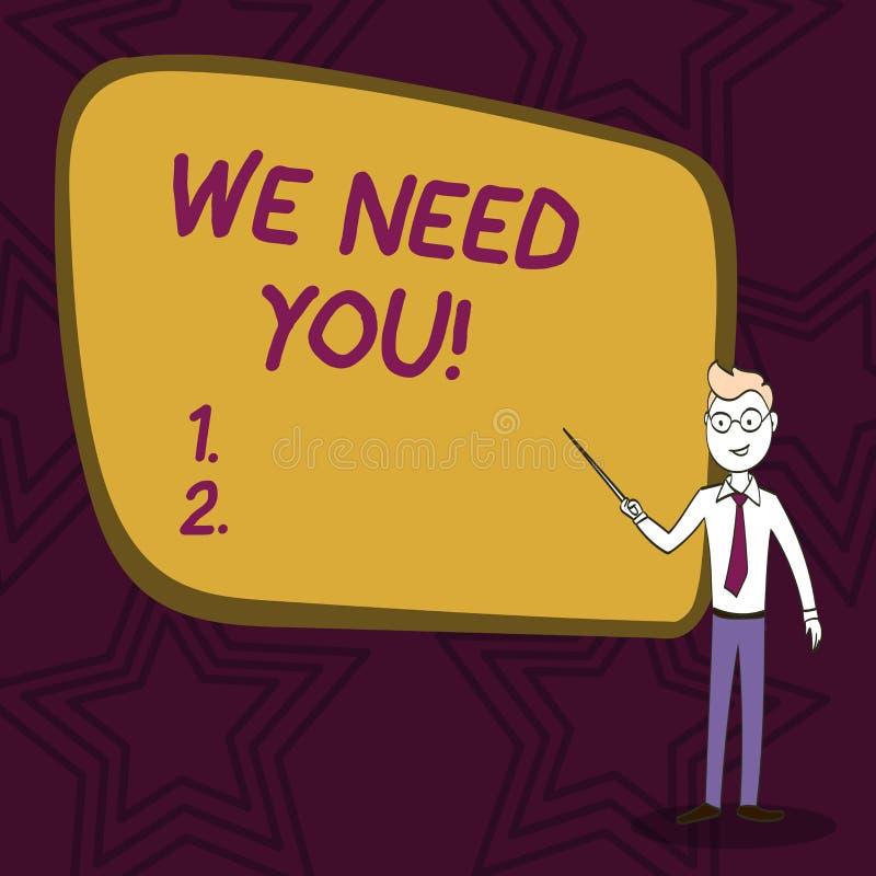 Word het schrijven tekst wensen wij u Bedrijfsconcept voor het vragen van iemand om voor bepaald Zekere baan of doel samen te wer vector illustratie