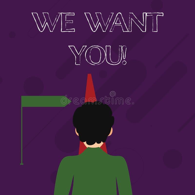 Word het schrijven tekst willen wij u Bedrijfsconcept voor Rekrutering die van Werknemers de Hulp Gewilde Arbeiders de Werkgelege stock illustratie