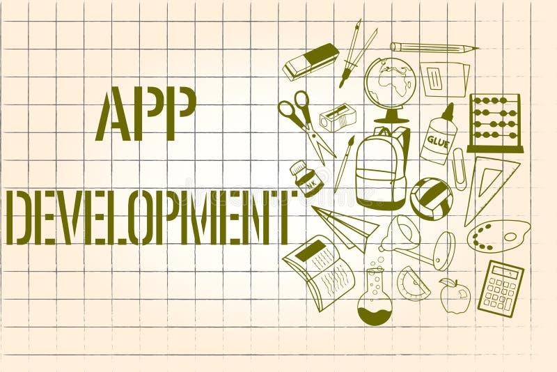 Word het schrijven tekstapp Ontwikkeling Bedrijfsconcept voor de Ontwikkelingsdiensten voor ontzagwekkende mobiele en Webervaring royalty-vrije illustratie